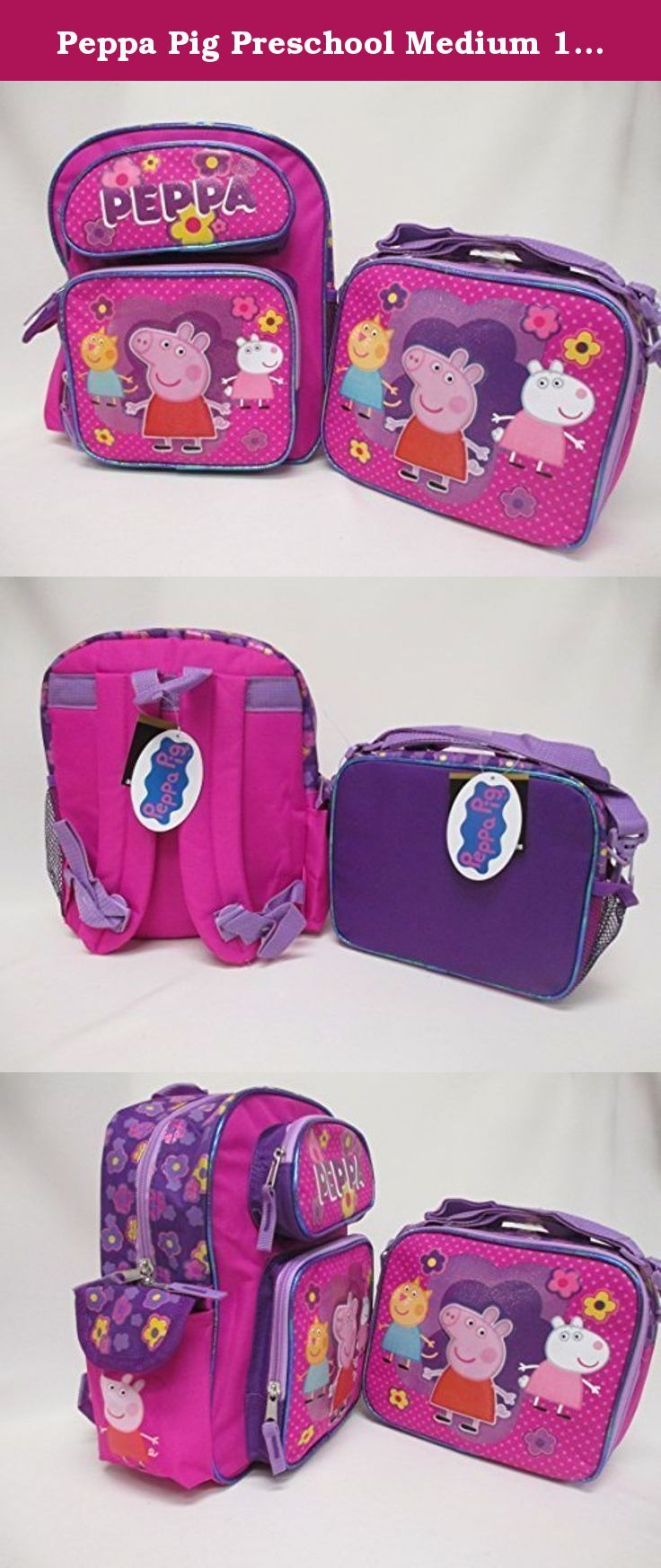 """Peppa Pig Preschool Medium 12"""" Backpack & Lunch Box Set. Peppa Pig Backpack Set!. Backpack. Lunchbox. THIS BACKPACK IS FOR 3 YEARS OLD & UNDER!!. This Complete Set is offered by Seller Bag2School."""