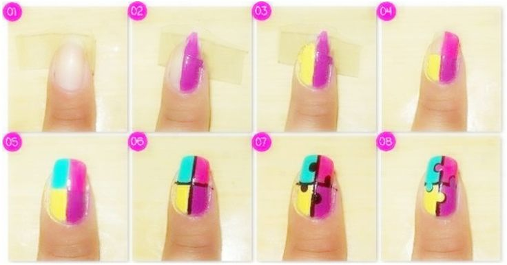 jigsaw puzzle colorful and easy nail designs~ lovely nail designs