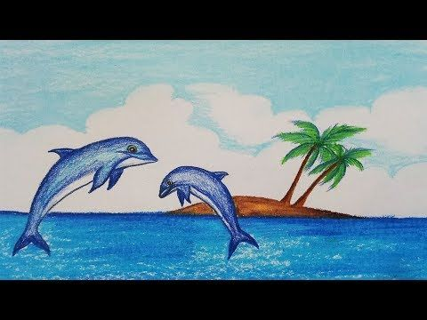 How to draw scenery of Dolphin.Step by step(easy draw) - YouTube