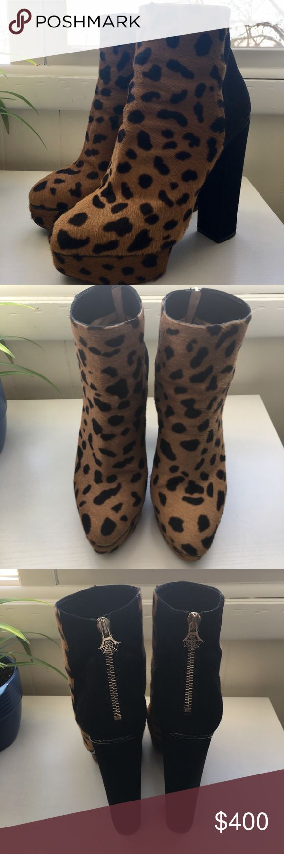 Charlotte Olympia 'Valerie' Leopard Calf Boots It pains me to sell these, but they are a bit too small! Size 39, but fit more like an 8. Charlotte Olympia 'Valerie' leopard print calf hair and black suede. Zipper on back with spiderweb pull. Minor wear to soles and general scuffing to suede. Leather lining is popping up in one. No box or dust bags. Charlotte Olympia Shoes Ankle Boots & Booties