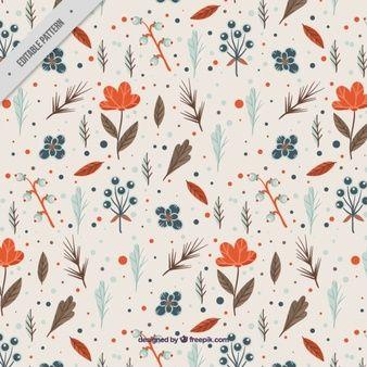 Цветочный узор с оранжевыми цветами