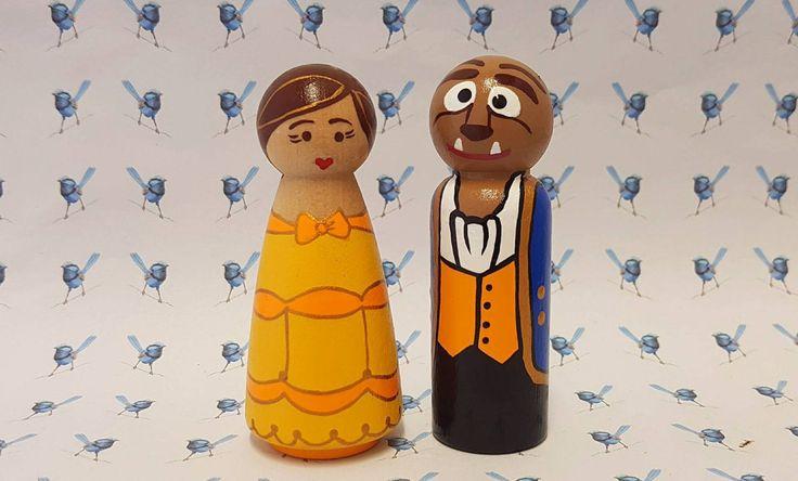 Wooden Peg Dolls - Beauty & The Beast by bluewrenstudios on Etsy