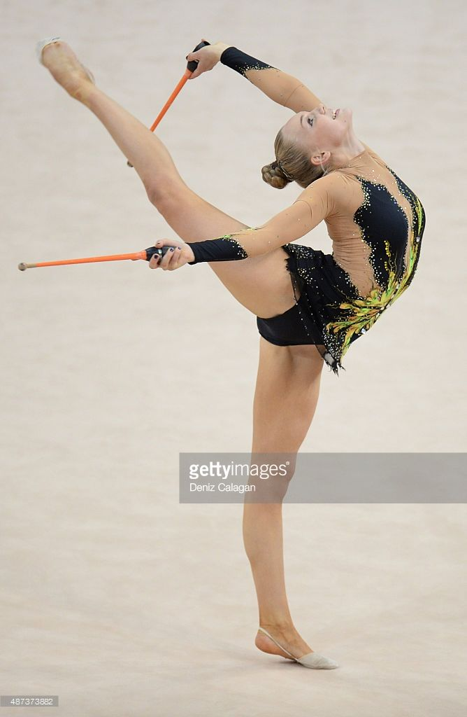 Cassandra Pettersson of Sweden competes during the 34th Rhythmic Gymnastics World Championships on September 9, 2015 in Stuttgart, Germany.