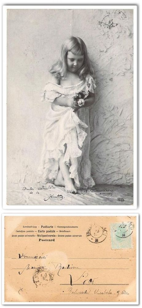 cp649 Old postcard Romania 1902 Little girl studio photo