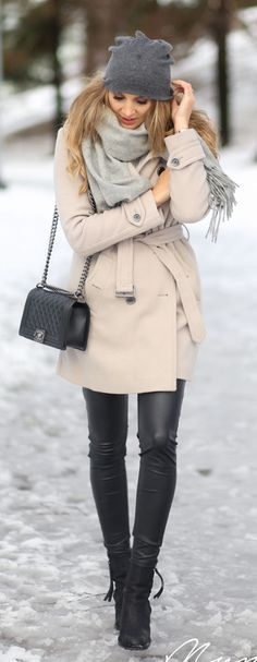 Winter Outfits 2015: Anna Vanhanen is wearing black trousers from River Island, ankle boots and grey scarf from Acne, bag from Chanel, hat from Ebay and the coat is from Burberry