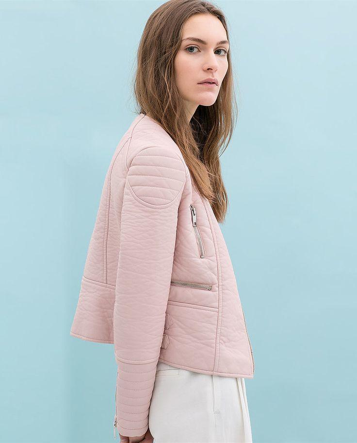 Faux leather jacket, $139, Zara