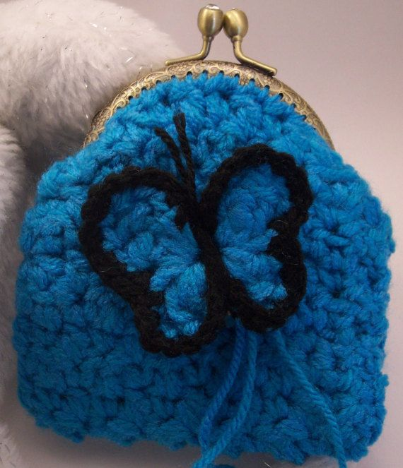 Small purse clutch crochet and a crochet butterfly broach by ZoiO
