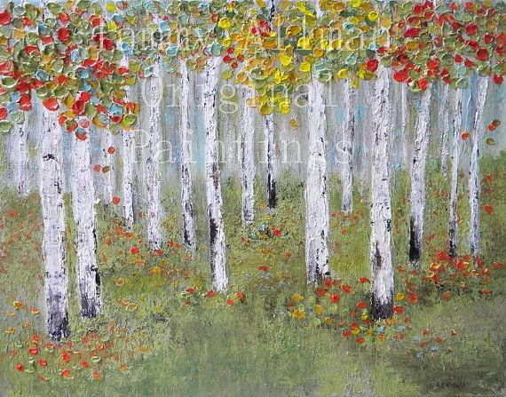 Original Custom Birch Tree Painting. The multiple colors in this painting are so pretty in a room. The trees will scale out according to the size canvas you order. How to order: Choose your size and type of canvas when purchasing. Please measure your space by the size you choose so