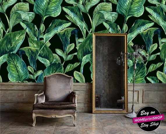 Watercolor banana tropical palm leaves wallpaper - wall art decor - Removable Self Adhesive peel and stick wallpaper / wall mural #24