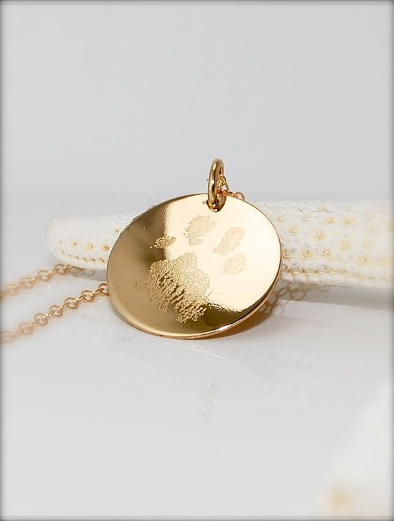 Your pets actual paw or nose print in 14k gold fill or .925 sterling silver -  dog or cat memorial pendant necklace - Personalized gifts - on Etsy, $49.00