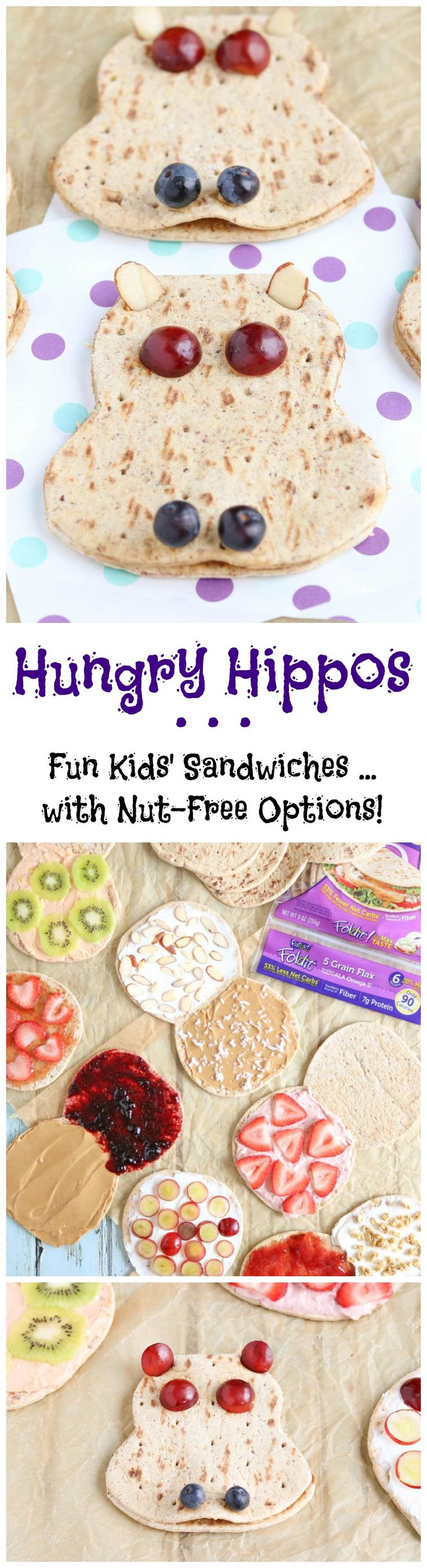 "Kids will love this adorable sandwich recipe! Easy and so adaptable! Use it as a fun ""edible art project"" ... or as a special little lunch box surprise! Choose basic peanut butter and jelly, or one of our other creative filling ideas (even lots of nut-free options for school lunches)! A kid friendly way to help kids eat healthy - loaded with protein and fiber, plus a little fresh fruit, too! A healthy kids' lunch idea they'll love, and so will you! {ad} 