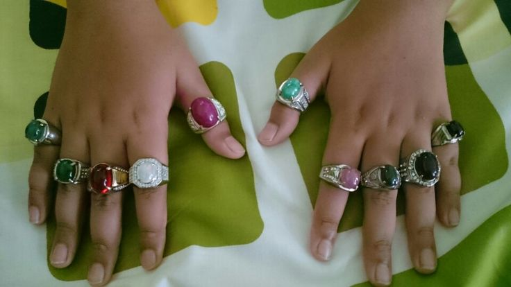 My son with my rings from natural stone collection