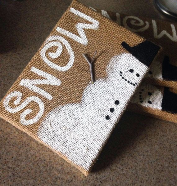 Hand Painted Snowman on Burlap Canvas Small by SaltedLemons