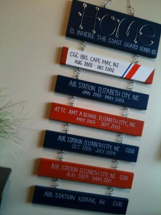 Home is Where the Coast Guard send us Sign (Home Sign with 6 regular duty station signs). $120.00, via Etsy.