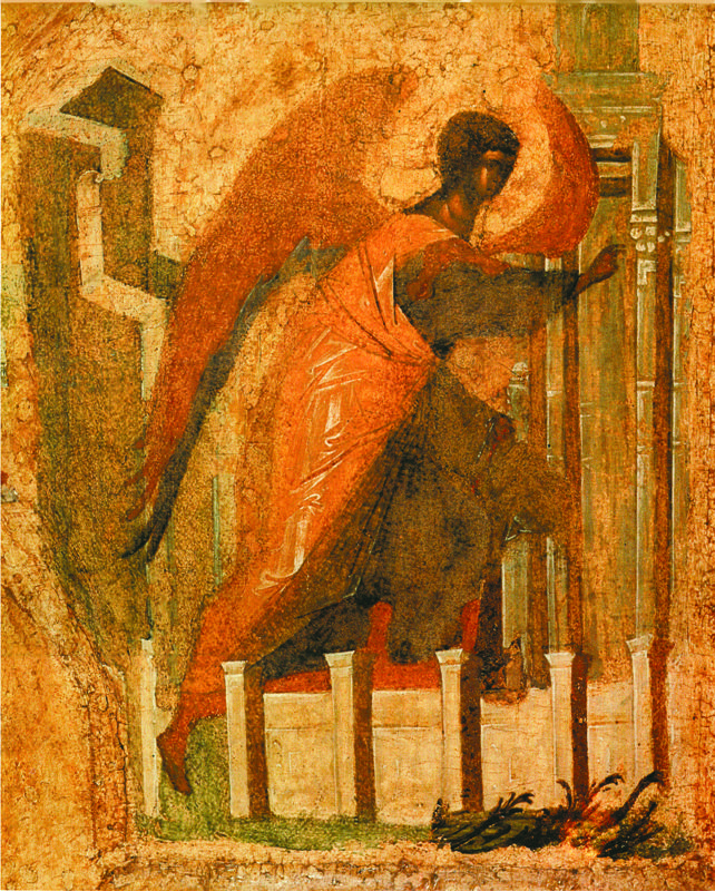 Фрагмент.  Ангел из Благовещения. Начало XV в.  Царские врата..
