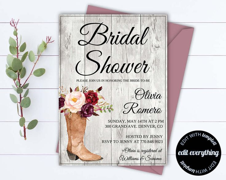 Country Bridal Shower Invitation - Southern Bridal Shower Invite - Printable Invitation - Rustic wedding shower invite - Country Wedding by MintedMemories on Etsy