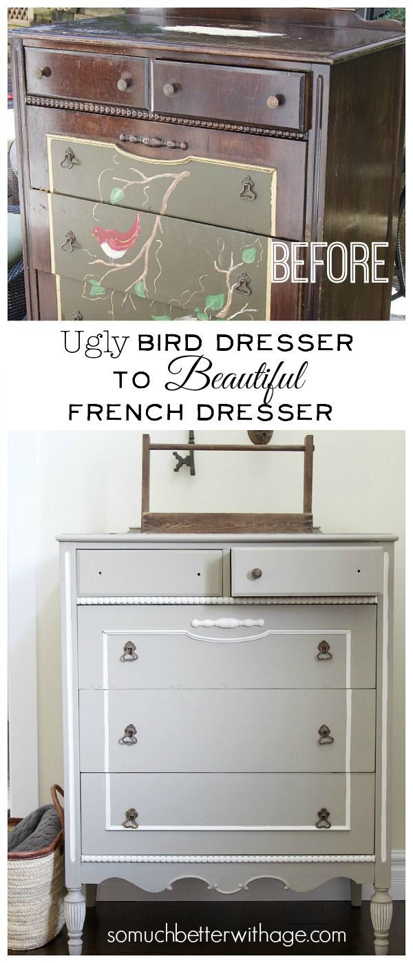 Ugly Bird Dresser to Beautiful French Dresser | So Much Better With Age