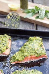 Basil-Avocado Baked Salmon ~ The Paleo Mom