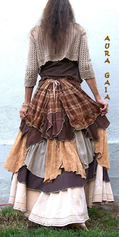 AuraGaia ~She's Complicated~ Poorgirl Upcycled Bustleback Skirt XS-2X Plus tattered vintage embroidered linen brown camel chamois plaid layered
