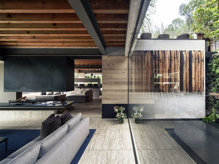 Raw Concrete House in Mexico by CHK arquitectura concrete wood entrance minimalism architecture