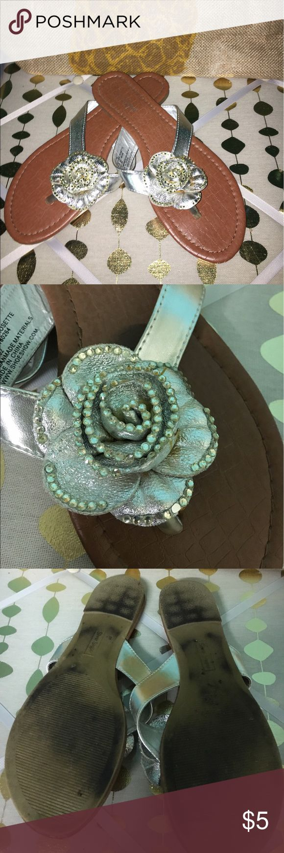 Flip Flop Silver with Sequin flower, glue spot visible on side of flower, not noticeable when wearing Silver Slipper Shoes Sandals