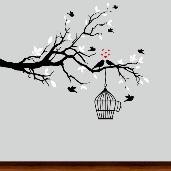Wall Decal Black And White Tree Branch Birds Pinterest