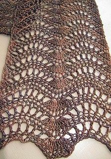 Feather and Fan Scarf free crochet pattern - 10 free crochet scarf patterns
