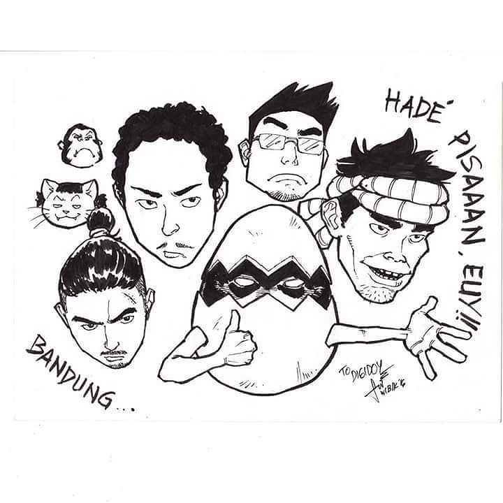 "Wuiiih jadi ganteng orang ni bah! Cemana menurut kelen?  Pas acara PAKOBAN kemaren neh dapat kenang-kenangan coretan dari komikus Bandung.  Mauliate kang @wibik_sana Sukses!  Buat kelen yang suka menggambar silahkan aja bikin dan kirim ""Fan art"" mu tentang digidoy dengan style gambar masing-masing biar rame!  #digidoykomik #medan #fanart #wibiksana #bandung by digidoy"