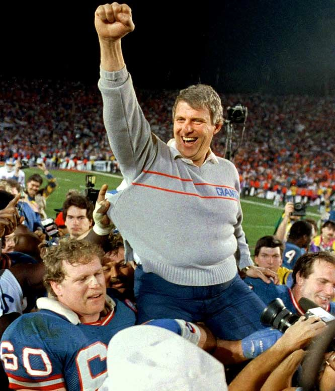 Bill Parcells, New York Giants.Getting a ride off of  the shoulders of Brad Benson & Chris Godfey after The Jints won Super Bowl 21 39-20