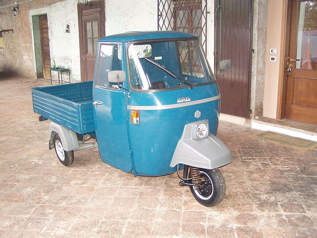 The Piaggio Ape is a three-wheeled vehicle produced by Piaggio since 1948. It is a true Italian symbol, unique in the world. Its engine comes from that of a scooter and it is still very popular among farmers who live in small towns