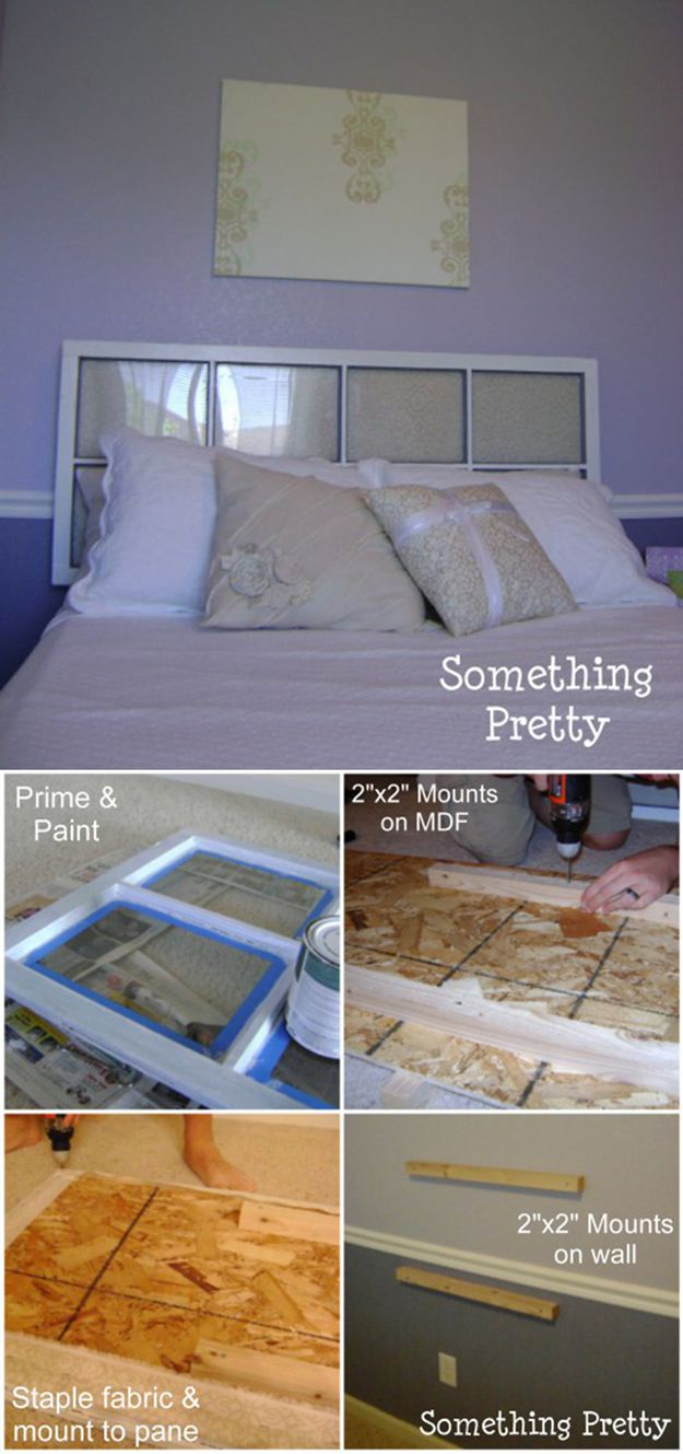 Upcycling Project: Upholstered Window Pane Headboard   Simple DIY Upholstered Headbaord Designs by DIY Ready at  http://diyready.com/cool-diy-upholstered-headboards/