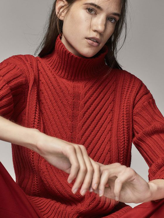 Fall Winter 2017 Women´s WOOL SWEATER WITH CABLE-KNIT DETAIL at Massimo Dutti for 99.95. Effortless elegance!