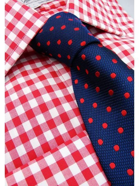 Large Red Gingham Slim Fit Double Cuff Shirt - SF101 | Slim Fit Shirts | Harvie Hudson of Jermyn Street London | Raddest Men's Fashion Looks On The Internet: http://www.raddestlooks.org