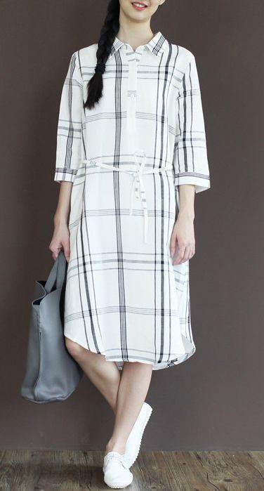 Linen dress. White plaid linen summer dress causal linen shirt sundresses