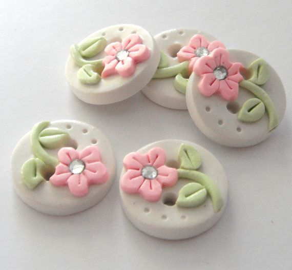 Button Tiny Pearl Flowers handmade polymer clay