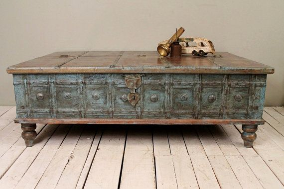 Reclaimed salvaged antique indian wood iron and bronze wedding trunk Indian trunk coffee table