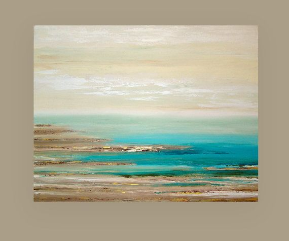 "Art, Painting, Beach Art,Seascape, Original Painting, Acrylic Art,Abstract Painting by Ora Birenbaum 40x50x1.5"" Titled: Retreat"
