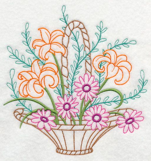 Blooming June Basket (Vintage) design (K7804) from www.Emblibrary.com
