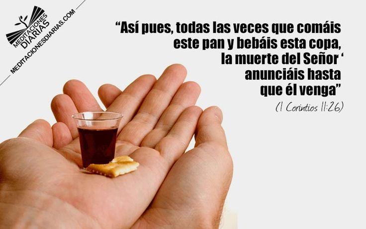 1 Corintios 11:25-26 Asimismo tomó también la copa, después de haber cenado, diciendo: Esta copa es el nuevo pacto en mi sangre; haced esto todas las veces que la bebiereis, en memoria de mí. Así, pues, todas las veces que comiereis este pan, y bebiereis esta copa, la muerte del Señor anunciáis hasta que él venga.♔