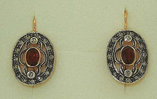 Garnet oval earrings on 18 carat rose gold plate on silver euro hooks surrounded by swarvoski crystals by Simply Italian Simply Italian jewellery has been indiv