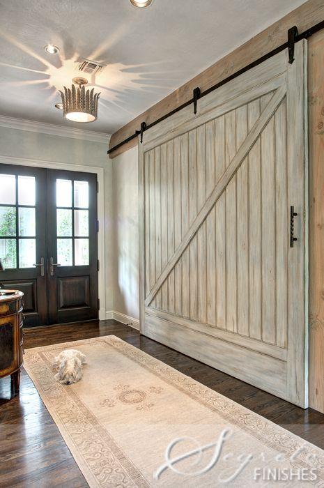 entry way redo. Love the oversized barn door.Red Doors, The Doors, Closets Doors, Decor Ideas, Barn Doors, Mud Room, Faux Barns, Barns Doors, Sliding Doors