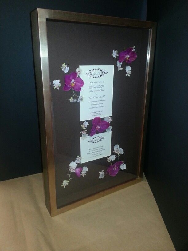 aifriedman custom framing nyc wedding invitation with flowers sewn onto the mat great