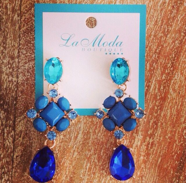 Big Blue Bling Earrings