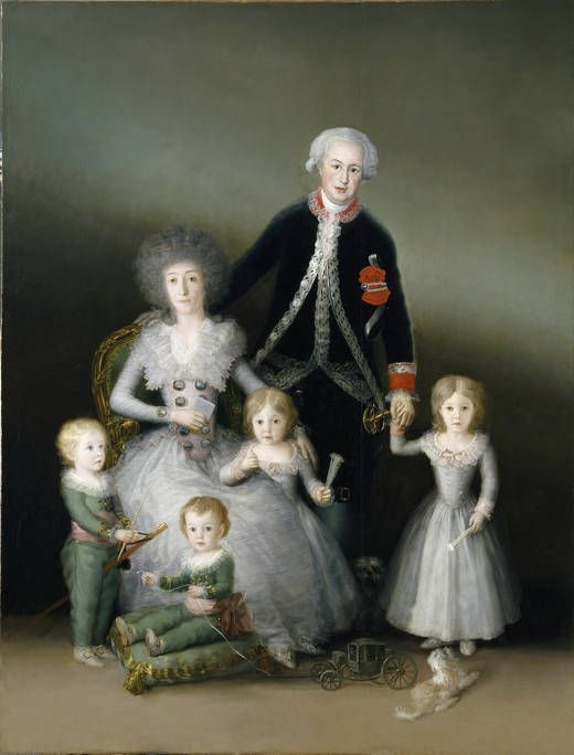 'The Duke and Duchess of Osuna and their Children' - Author Goya y Lucientes, Francisco de - As exemplary enlightened aristocrats of their time, the Duke and Duchess of Osuna were among Goya's first protectors. Their closeness to the painter is clear in how intimately each is portrayed, with a perfect of individualization of each personality within the family group. The little boy sitting on a pillow grew up to be the first Director of the Prado Museum.