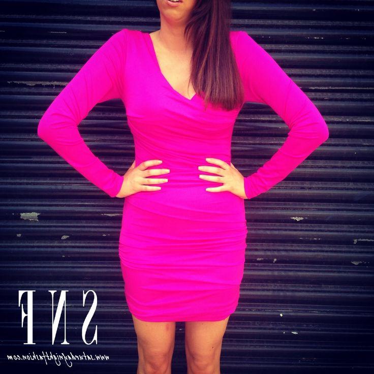 Hot Pink Bodycon Dress Long Sleeve
