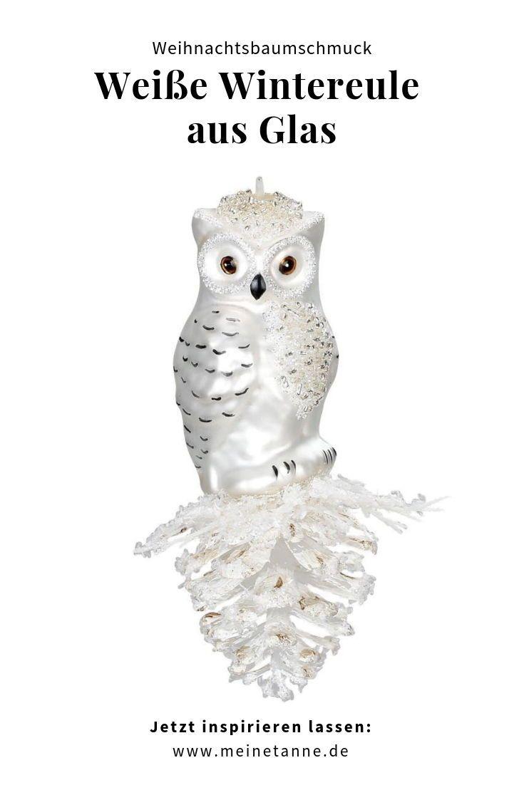 Weisse Wintereule 12 5 Cm Eule Weihnachtsbaumschmuck Schone Figur