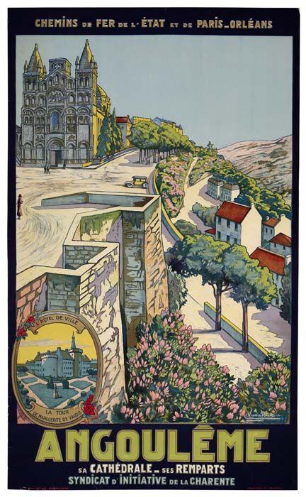 Vintage Railway Travel Poster - Angoulême - Charente - France - by Eugène Vasseur.