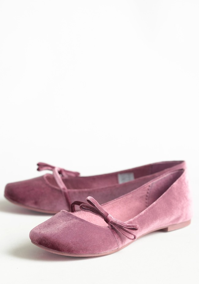 Melvina Mauve Velvet Flats   Modern Vintage Shoes