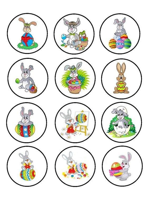 Bingo Lapin de Pâques - Vignettes à tirer 2 La régle du jeu : - distribuer 1 ou 2 cartons à chaque joueur en fonction de l'âge. - faire une pioche avec les images rondes (recto au dessus). - donner des jetons à chaque joueur. - la partie débute, un joueur retourne la 1ère image ronde du dessus de la pioche et la pose sur la table afin que tous le monde puisse la voir. - chaque joueur regarde sur son carton si cette image y est. - si oui, il place un petit jeton bleu dessus. - sinon il attend…
