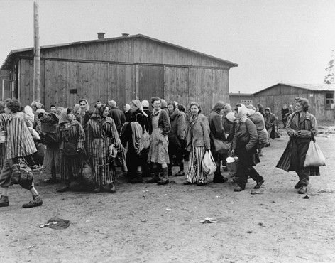Holocaust: Photograph of Evacuating Female Political Prisoners from Bergen-Belsen